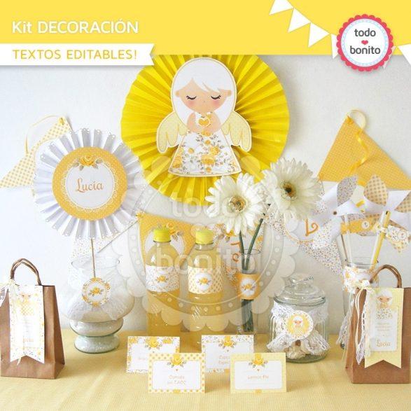 Shabby Chic Amarillo decoración primera comunión
