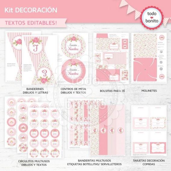 Kit imprimible shabby chic rosa