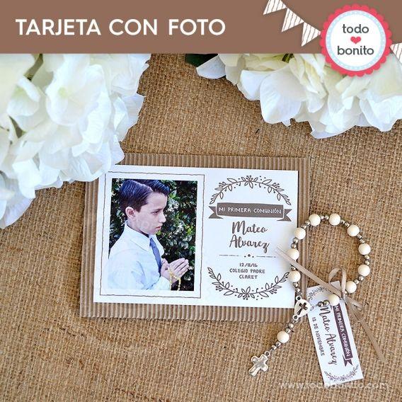 Tarjeta imprimible con foto Kit Rustico