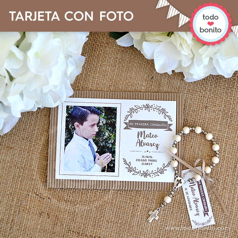 Tarjeta con foto Imprimible Kit Rústico Todo Bonito