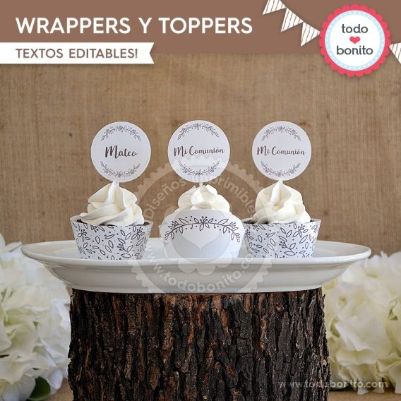 Wrappers y Toppers Kit imprimible Rustico Todo Bonito