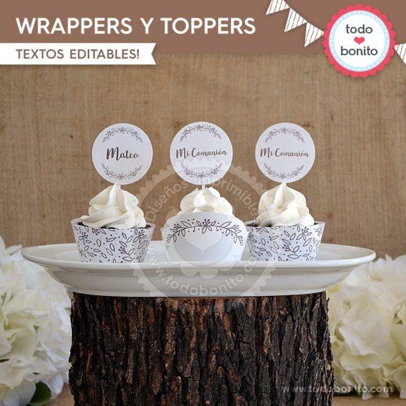 Wrappers y toppers para imprimir estilo rústico