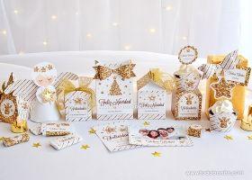 Kits imprimibles de Navidad dorado y blanco