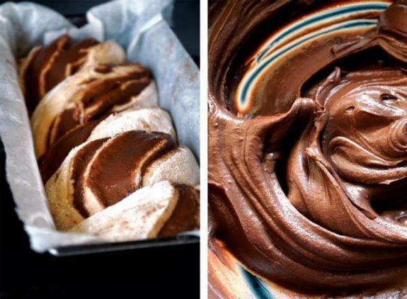 Trenza esponjosa de chocolate
