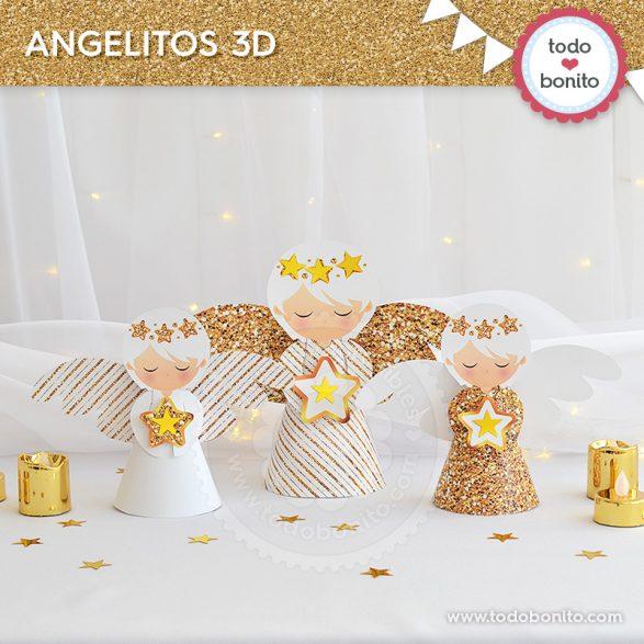 Angelitos 3D de navidad