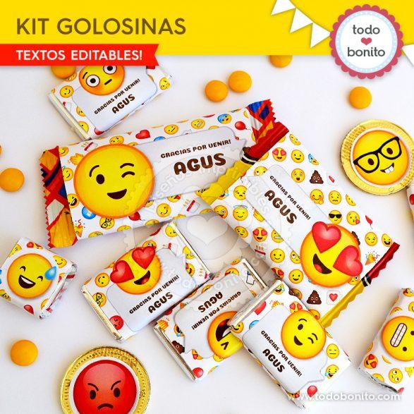 Kits para imprimir etiquetas de golosinas de Emojis