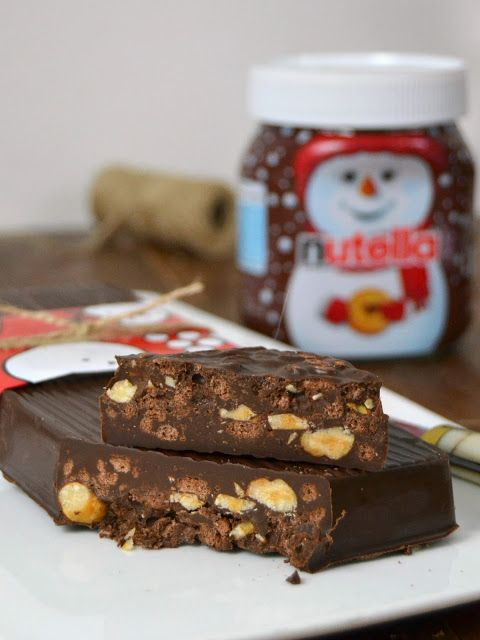 Crujientes turrones de chocolate y nutella