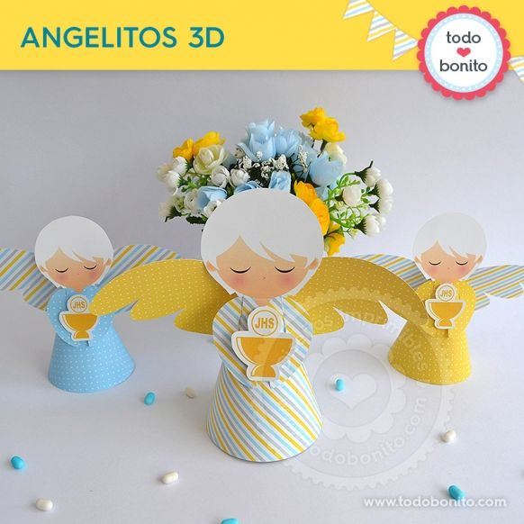 Angelitos 3d de cáliz amarillo y celeste