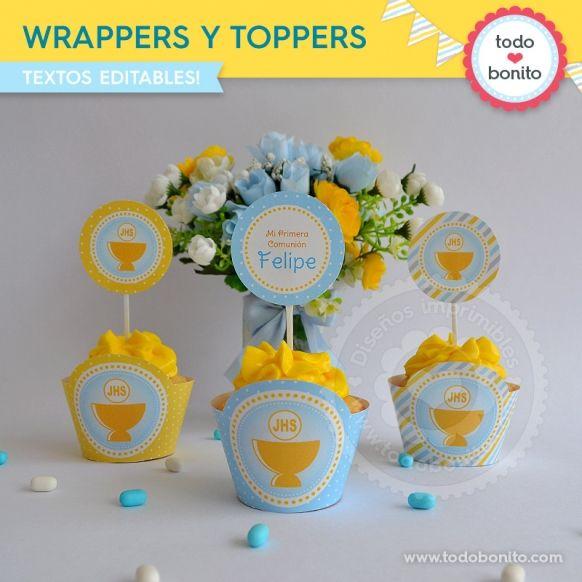 Wrappers y toppers de cáliz amarillo y celeste