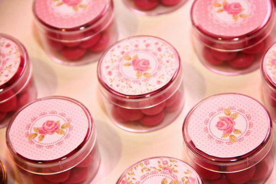 Golosinas personalizadas shabby chic rosa