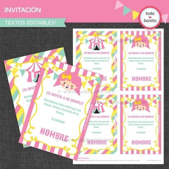 Invitación imprimible modelo de circo rosado para niñas