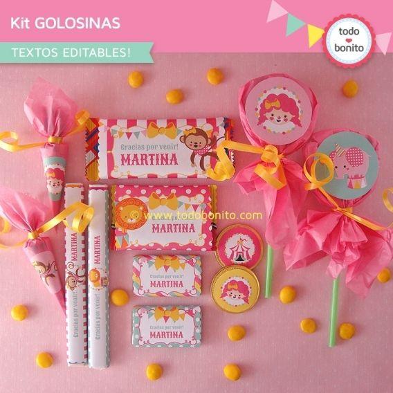 Etiquetas imprimibles y editables para golosinas temática circo en rosa