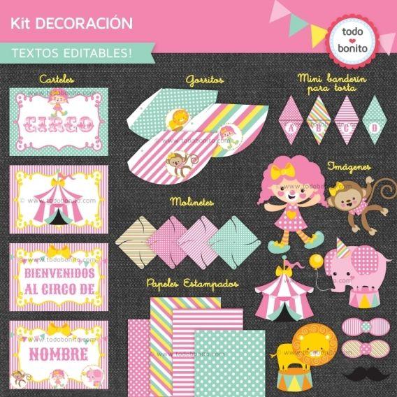 Kit de decoración imprimible y personalizable modelo circo niñas de Todo Bonito