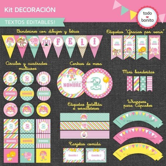 Kit decoracion Circo Niña