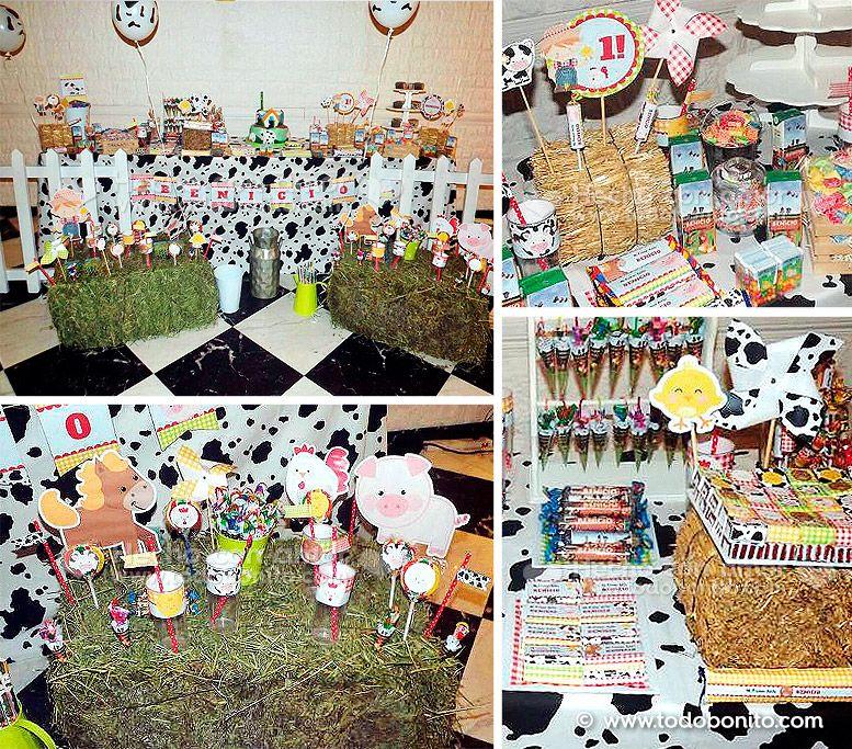 Decoraciones de la granja para el primer añito de Benicio