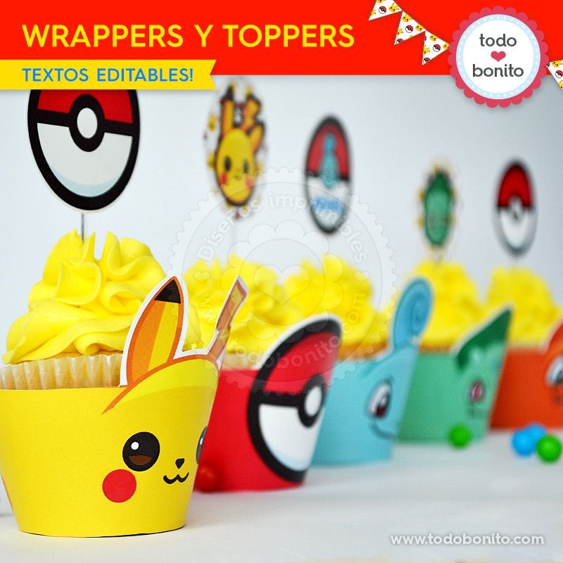 Cupcakes Pokemon para imprimir
