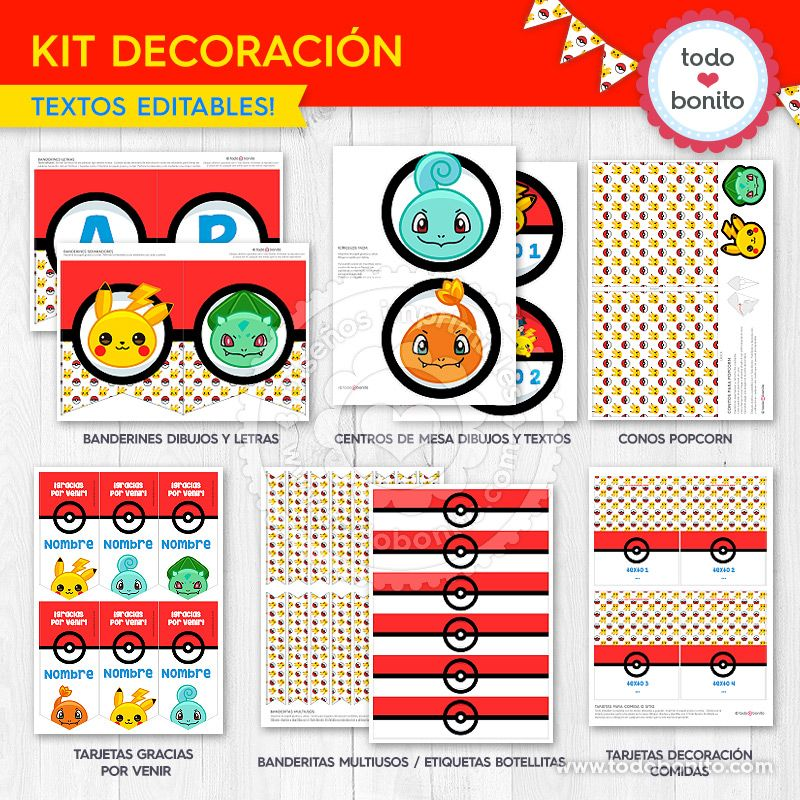Decoración Pokemon para imprimir