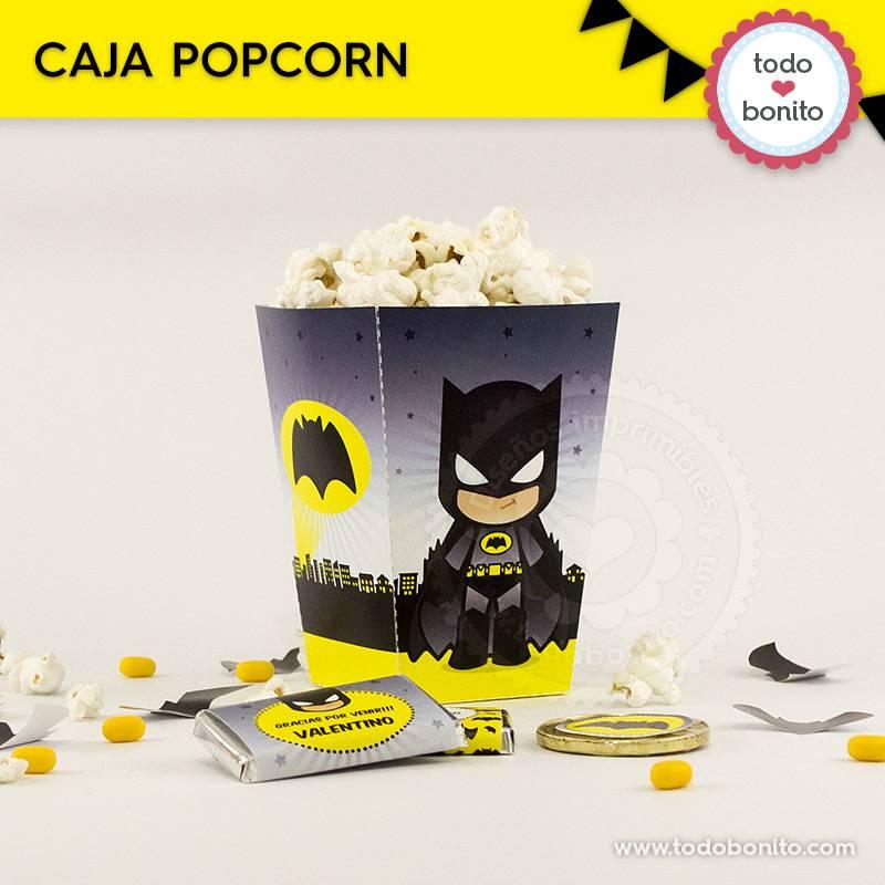 Caja popcorns del imprimible de Batman