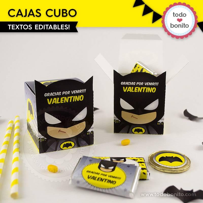 Cajas cubo del imprimible de Batman