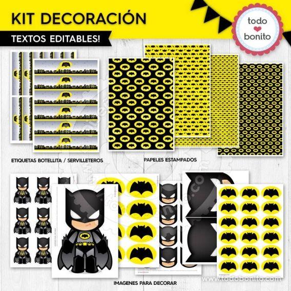 Kit decoración para imprimir de Batman por Todo Bonito