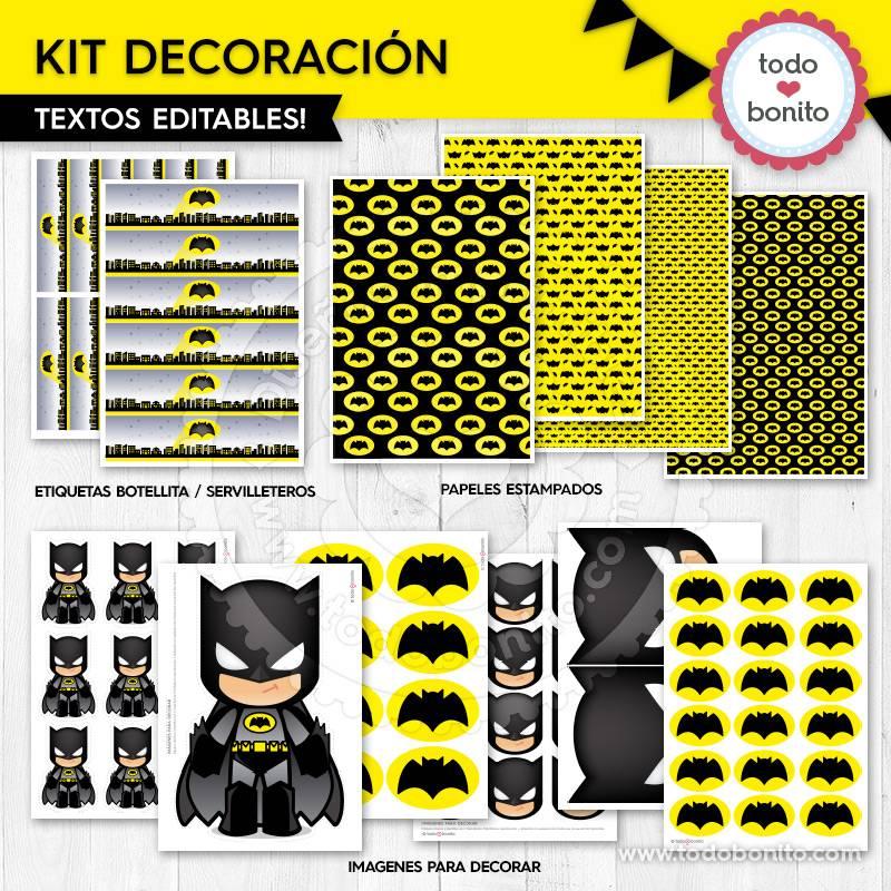 Kit decoración del imprimible de Batman