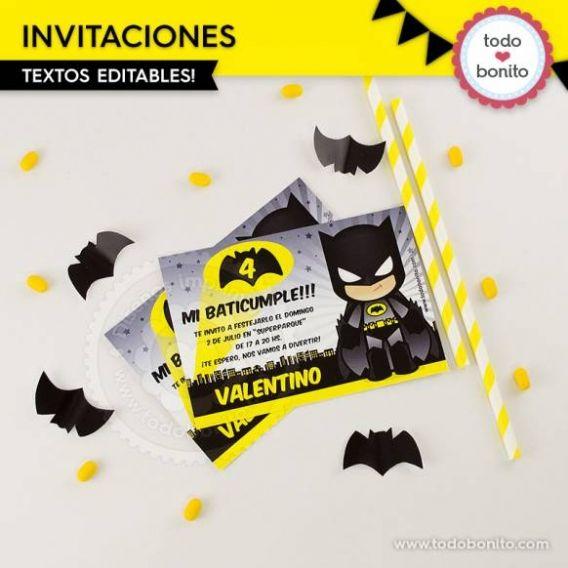 Invitaciones para imprimir de Batman por Todo Bonito