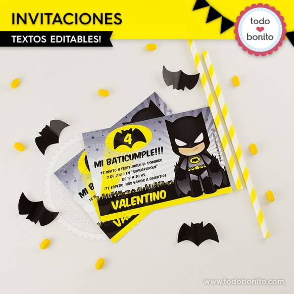 Invitaciones del imprimible de Batman