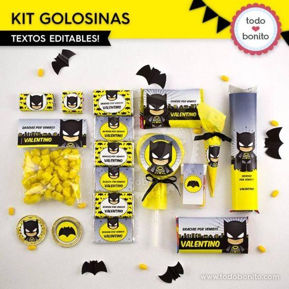 Kit golosinas para imprimir de Batman por Todo Bonito