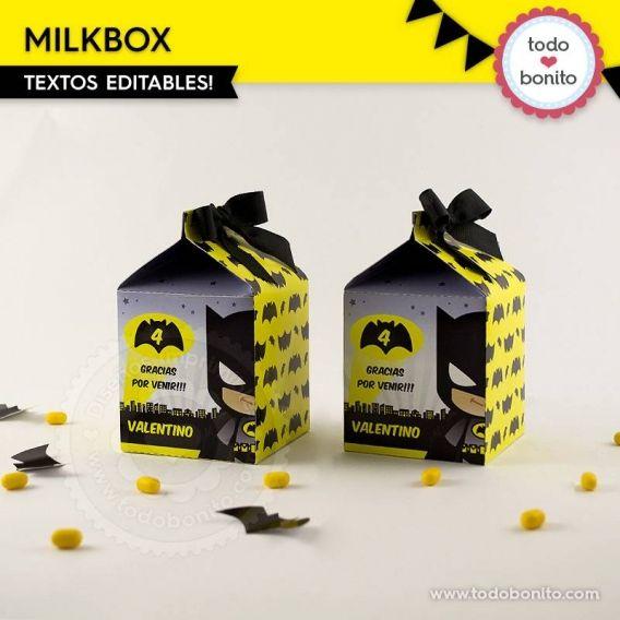 Milkbox para imprimir de Batman por Todo Bonito