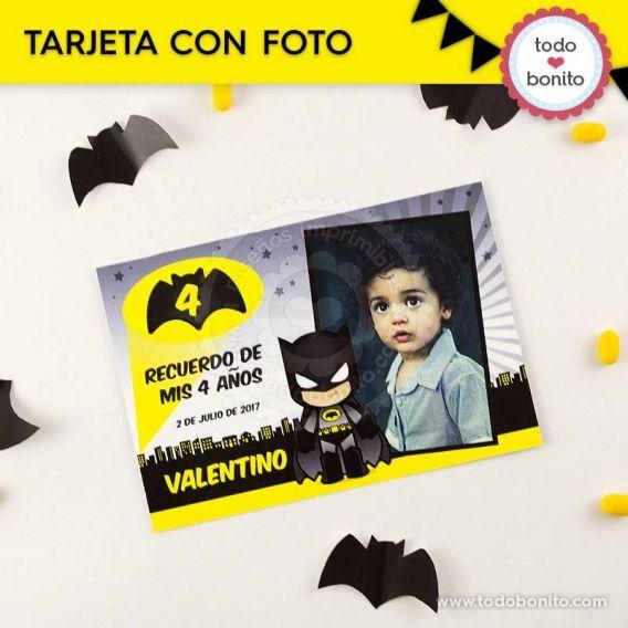 Tarjeta con foto para imprimir de Batman por Todo Bonito