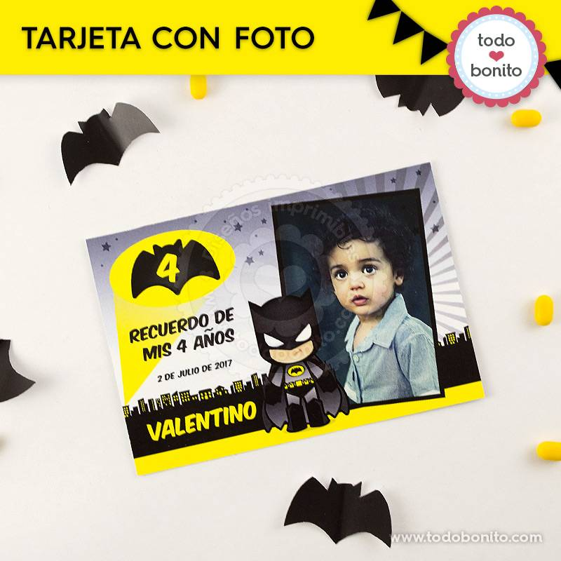 Tarjeta con foto del imprimible de Batman