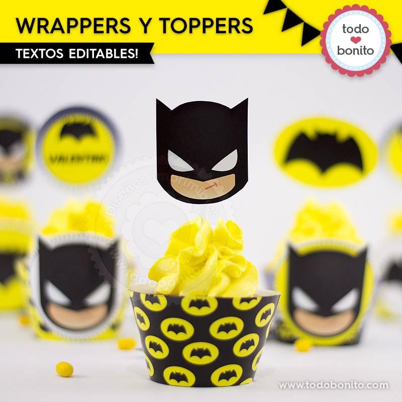 Wrappers y toppers del imprimible de Batman