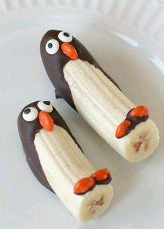 Pingüinos de banana congelados
