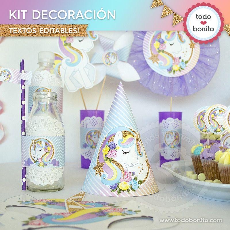 Kits imprimibles de unicornio for Decoracion para pared de unicornio