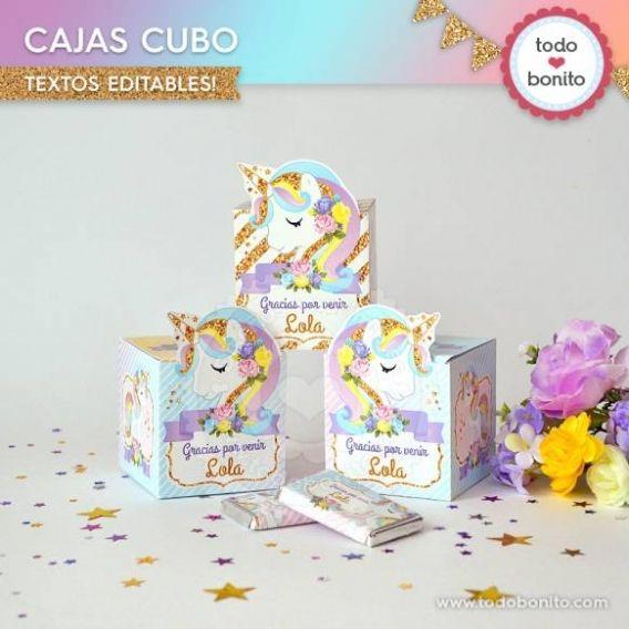 Cajas Cubo de Unicornios por Todo Bonito