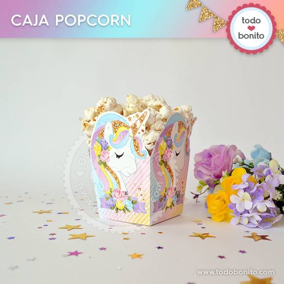 Caja popcorn del kit imprimible de Unicornio