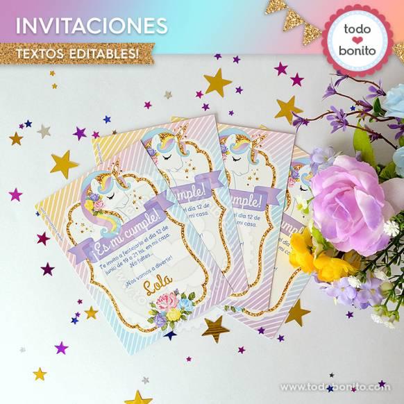 Invitaciones del imprimible de Unicornio
