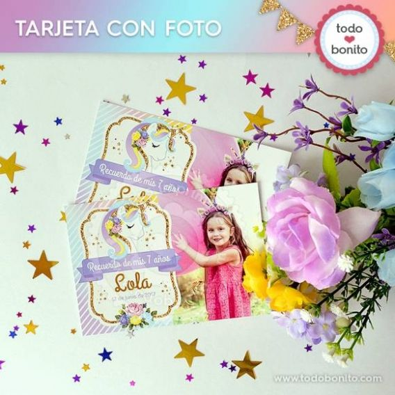 Invitaciones Imprimibles con foto de Unicornios por Todo Bonito