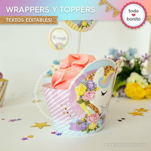 Wrappers y Toppers imprimibles unicornio Todo Bonito