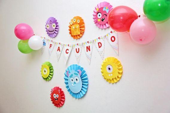 Decoración de cumpleaños de Monstruitos para imprimir