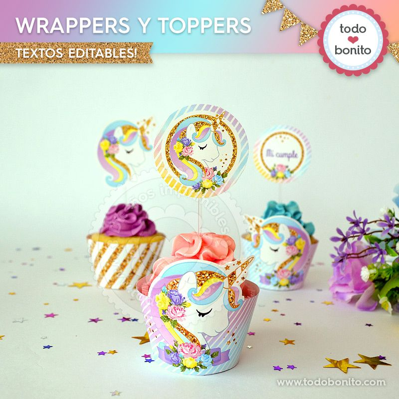 Wrappers y toppers para cupcakes de Unicornios