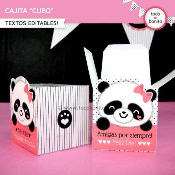Cajita cubo del imprimible Pandita