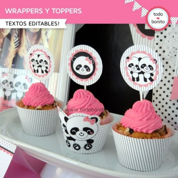 Wrappers y Toppers del imprimible Pandita