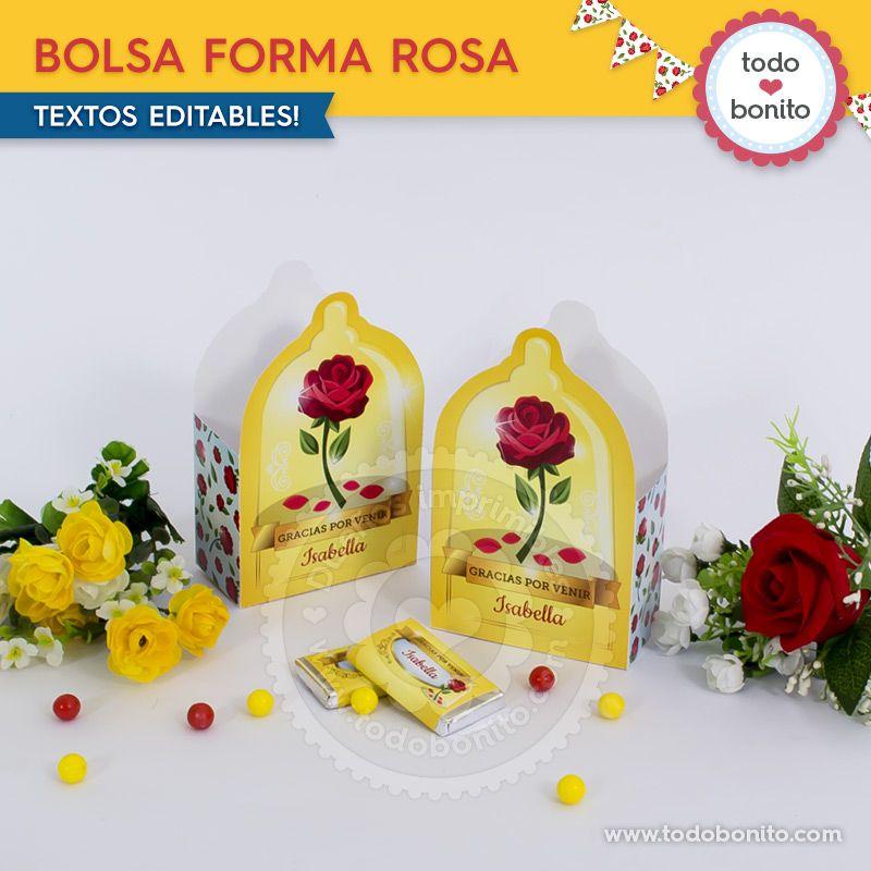 Bolsa de Rosa para imprimir La Bella y La Bestia
