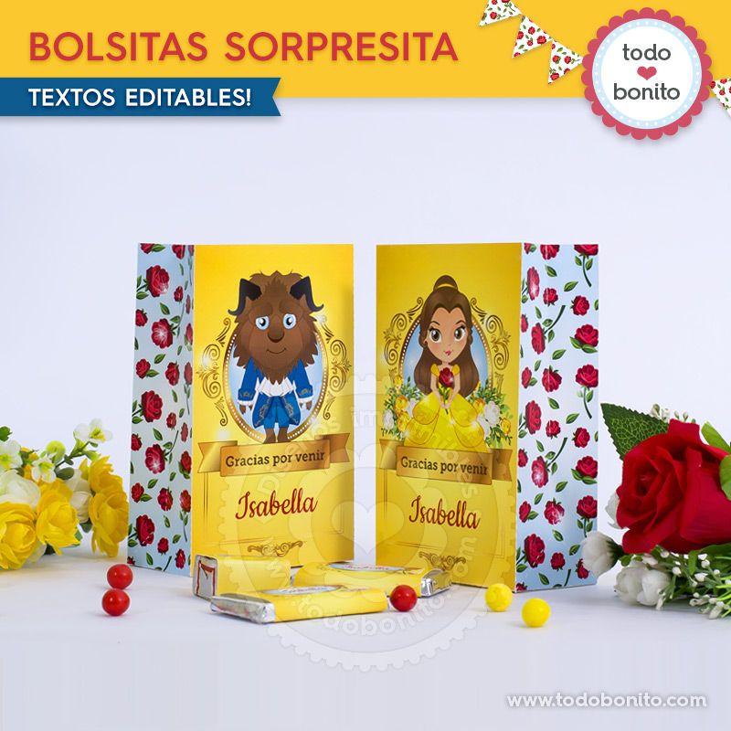 Bolsitas para imprimir La Bella y La Bestia