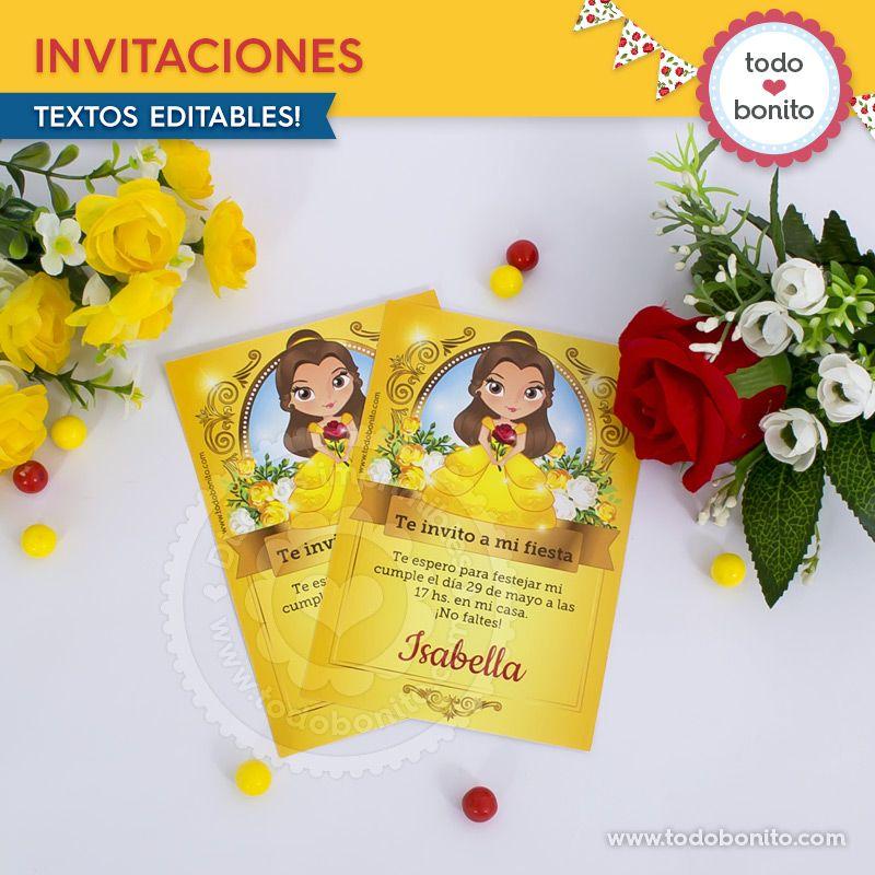 Invitaciones para imprimir La Bella y La Bestia