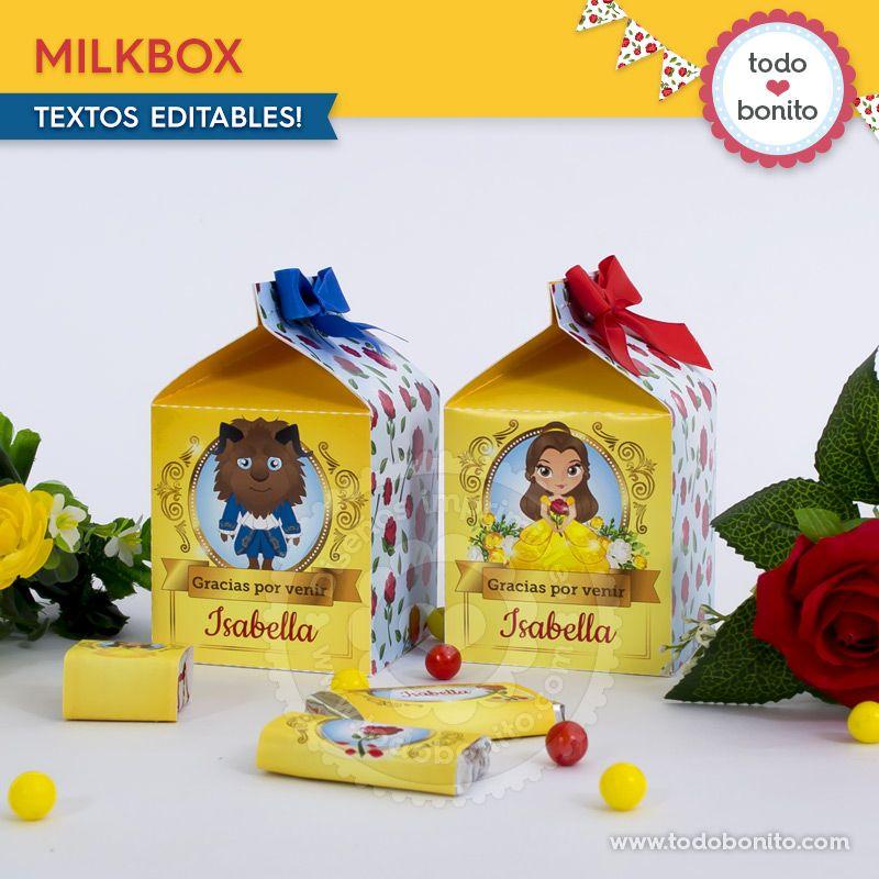 Milkbox para imprimir La Bella y La Bestia