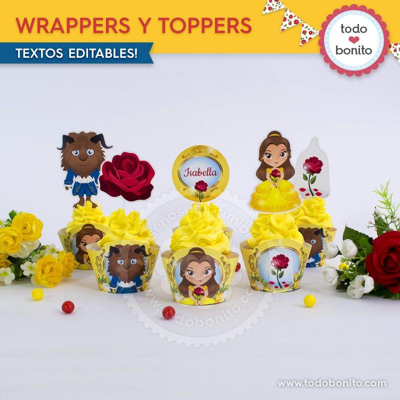 Wrappers y Toppers imprimibles de La Bella y La Bestia