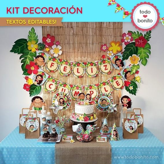 Kit Decoración imprimible Moana Todo Bonito