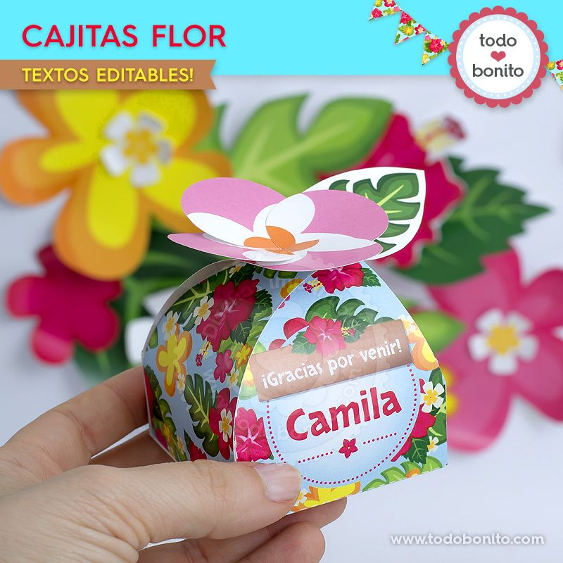 Cajitas flor para imprimir de Moana